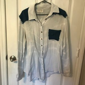 Free People slightly distressed button down top
